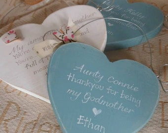 Handmade wooden hearts, wedding favours & personalised thank you gifts, thank you for being my Godmother, flower girl,  page boy bridesmaid