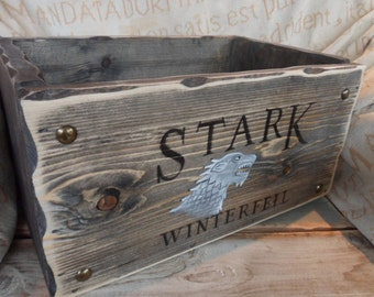 Game of Thrones crate Stark Winterfell storage box  Winter is coming BOX. Lannister Baratheon Targaryen Custom DVD storage box Gifts for him