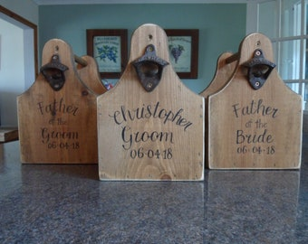 Custom set wooden beer caddies /Tote carriers Six pack personalised wedding groomsman gift sets, Groom Best man Usher Father of the Bride