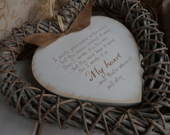 I wrote your name in the sand ..... Our Hanging Slate , wood and wicker hearts,  a handmade and bespoke gift to remember  lost loved ones