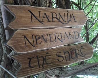 Directional wedding arrow pack Fairytale Storybook signpost arrows  Custom rustic wedding decor  Peter Pan the Shire Wonderland 100 AcreWood