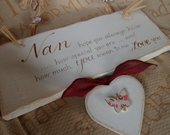 Custom personalised Nan Nanny Gran Grandma wooden plaque sign with ribbon raffia and  butterfly. Thoughtful keepsake gift from grandchildren