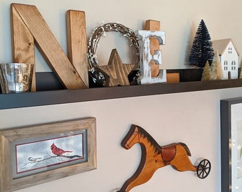 NOEL Wood letters with vine wicker wreath, Primitive & rustic Christmas decor for the mantel or table NOEL Wood sign Chritmas gifts