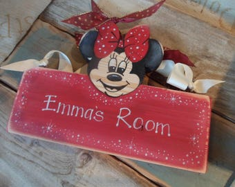 Childrens personalised  bedroom door signs... for your little ones. Minnie & Micky Mouse, Minions Fireman Sam Frozen Cars Peppa Pig Gruffalo