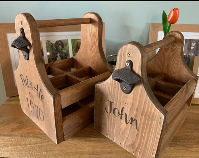 Featured listing image: Custom Wood beer caddy gift Six pack beer crate Personalised groomsman gift Best man Usher Fathers Day gift Teacher Retirement Gifts for him