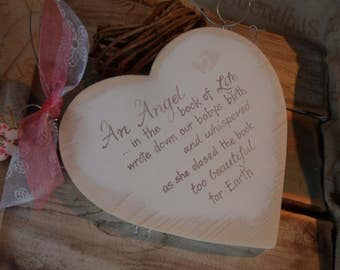 An Angel in the book of life, wrote down my baby's birth.Personalised infant baby bereavement and sympathy heart to remember loved ones.