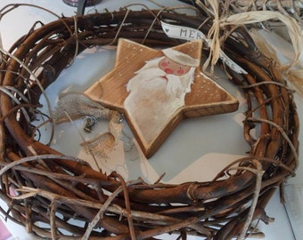 Decorative primitive vine  wreath Christmas wreath complete with handmade Saint Nicholas star Holiday wreath Table decoration