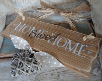 Home is where your story begins. Family wood plaque / sign personalised with handmade wooden hanging hearts