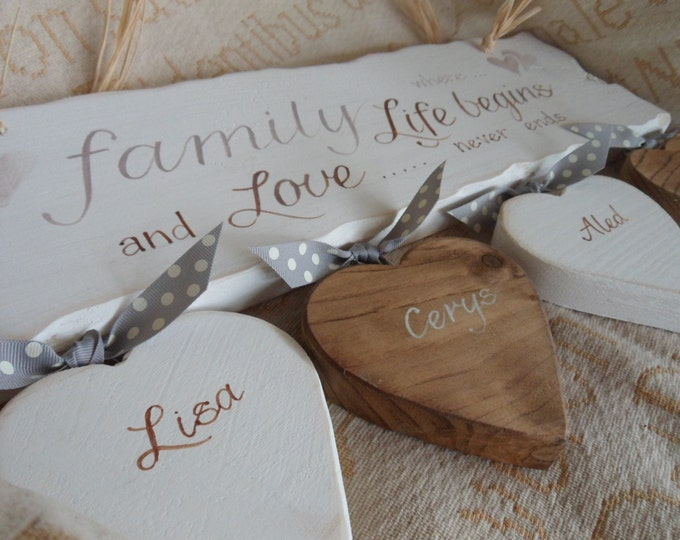 Featured listing image: Family, where life begins and Love never ends wood sign. Custom, personalised family sign/plaque. Last name wall sign Custom family sign