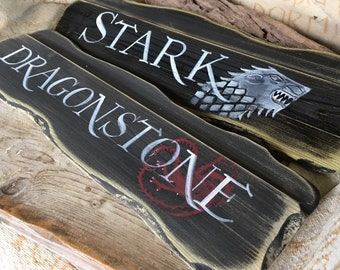 Custom Game of Thrones signpost mancave inspired sign ideas House Stark Targaryen Baratheon Lannister Greyjoy Winter is coming Arryn Tyrell