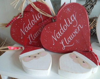 Merry Christmas, Nadolig Llawen 18cm, 9cm rustic wooden hearts. Bespoke custom Christmas decorations, personalise with names, Teacher gifts