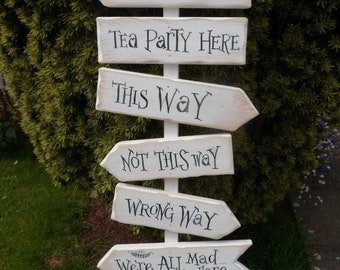 This way that way not this way Wonderland  Fairytale Storybook signpost sign School reading corner Baby Nursery decor Custom wedding decor