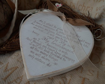 Rustic handmade wedding hearts, wedding favours & personalised thank you gifts  22cm shabby chic hearts. Every Love story,  be my bridesmaid