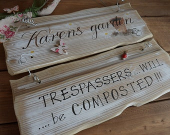 Custom Grandad's garden plaque. Unique birthday, anniversary & memorial gift. Trespassers will be composted sign. Handpainted custom sign
