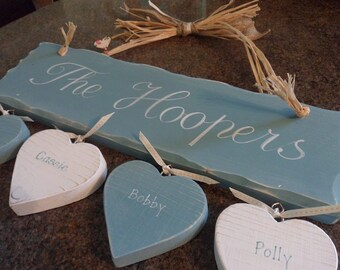 Custom Family name plaques, personalised and bespoke just for you. Perfect gifts for Wedding, Anniversary, Mothers Day.