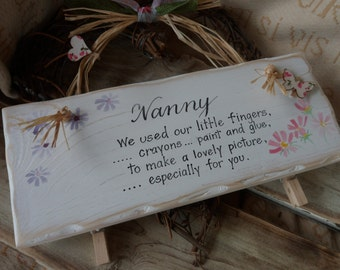 Gifts for Nan, Nanny Gran Granny Grandma. Hand crafted wood sign with pegs to hold lovely pictures. Mothers Day gift from grandchildren