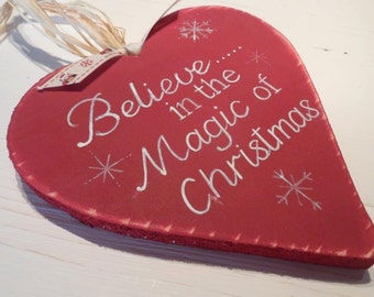 18 cm Rustic Christmas wood heart decoration Believe in the Magic of Christmas  Personalised baby's first Christmas heart. Shabby Chic heart