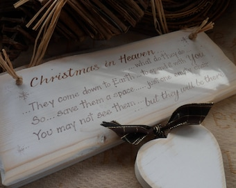 Christmas in heaven memorial wood plaque personalised wooden heart Snowflakes are kisses from heaven, Robins appear when loved ones are near