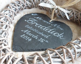 Slate wicker hearts Wedding, Engagement Anniversary gifts  Personalised bespoke wedding gift, Mr and Mrs custom sign Custom wedding keepsake