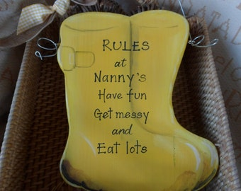 Humerous Nanny and Grandad gifts. Custom Wellington boots sign, Nanny's rules  ... Choose your own wording Bespoke gift for grandparents