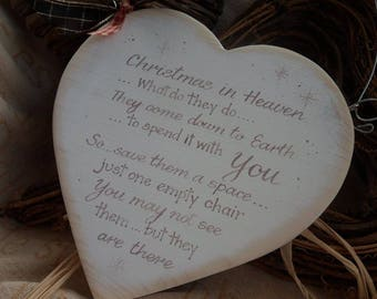 Christmas in heaven memorial wood heart plaque, when robins appear a loved one is near, snowflakes are kisses from heaven , christmas heart