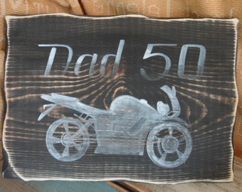 Motorbike themed gifts for 18th 21st 30th 40th 50th 60th 70th 80th Birthday gifts. Unusual wooden signs & gifts for him,  Fathers Day gifts