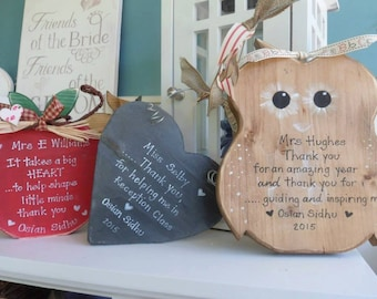 Teacher gifts, a lovely selection of ideas, from slate hearts, owls and apples with a personalised quote for your favourite teacher.
