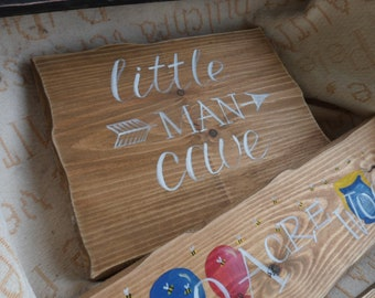 Little man cave boys nursery wood sign, Nursery decor wood sign, Baby shower gift, Fairytale signpost signs Play den signs Newborn gift.