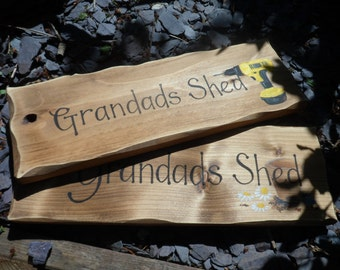 Grandad's Shed Sign  Personalised wooden signs Dad's workshop Custom hand painted designs Birthday Christmas gifts for Dad  Grandpa Popsgift