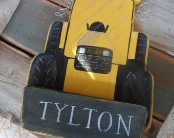 Childrens personalised  bedroom door signs. JCB and tractor shaped plaque , perfect Nursery, 1st Birthday, newborn or christening gifts