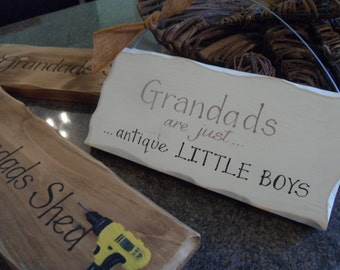 Grandad signs  Pop's shed Grandad's are just antique little boys sign Handmade personalised wood plaque. Funny, unique Gifts for grampa pops