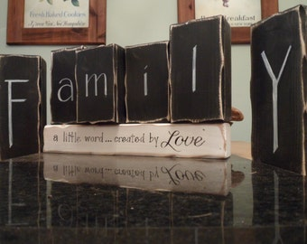 FAMILY wooden blocks... a little word created by LOVE. Distressed shabby chic decor for the home. Wedding, Engagement, Anniversary gifts