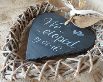We Eloped slate and wicker heart. Wedding announcement sign. Elopement Sign, Just Married,  Marriage Announcement or Photo Prop Decor.
