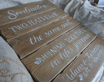 Soulmates, two halves of the same soul joining together in lifes journey wooden wedding plaque