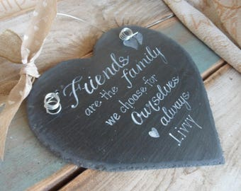 22cm hanging slate hearts with friendship quotes, a beautiful handmade and thoughtful keepsake. Best friends sign. Memorial, love, sign