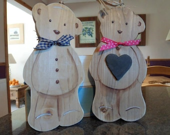 New baby, newborn and christening wooden teddy bear plaques. Theo and Theodora are handmade and ready for personalisation. Nursery decor.