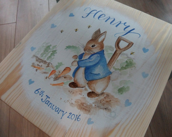 Featured listing image: Children's wood chairs, Personalised & hand painted illustrations for Newborn Christening 1st Birthday gifts Bespoke childrens nursery decor