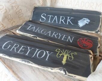 Custom Game of Thrones signpost mancave inspired sign ideas House Stark Targaryen Baratheon Lannister Greyjoy Winter is coming Arryn Tyrell