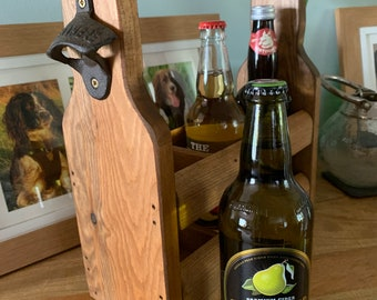 Rustic 3 bottle Ale Cider bottle wooden holder/caddy, wedding & anniversary gift, personalised groomsman, Fathers Day, special birthday gift