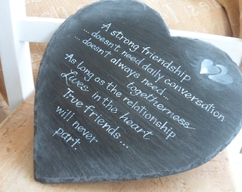Hanging welsh slate hearts with friendship quote, Handmade thoughtful keepsake sign for Best friends  Memorial signs  Best friends sign
