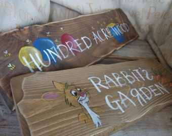 Winnie the Pooh inspired Single & Multi pack signpost signs 100 ACRE woods Piglets House Rabbits garden Owls house Pooh bears house Nursery
