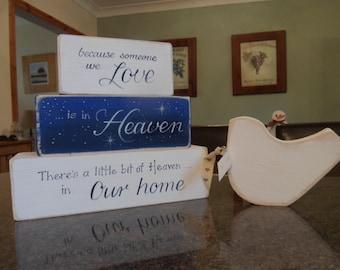 Because someone we love is in heaven blocks. Handmade custom & personalised set of stacking wooden memorial blocks to remember loved ones.