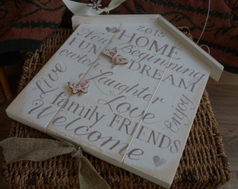 New home, newly married, wedding gift. Handmade shabby chic house shaped wooden plaque Personalised for family and friends, Live Love Laugh