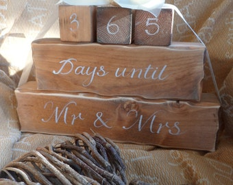 Wedding countdown blocks, days or weeks until we become Mr & Mrs...... personalised bridal shower gifts , days until we say I do