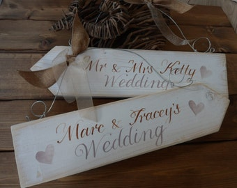 Custom wedding arrow signs, rustic handmade wedding signs, Mr and Mrs personalised sign & directional wedding arrow, wooden wedding plaque