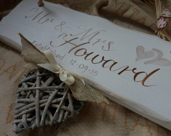 Personalised wedding, anniversary, engagement gifts, Mr and Mrs...Happily ever after is an unusual handmade shabby chic plaque, with wicker