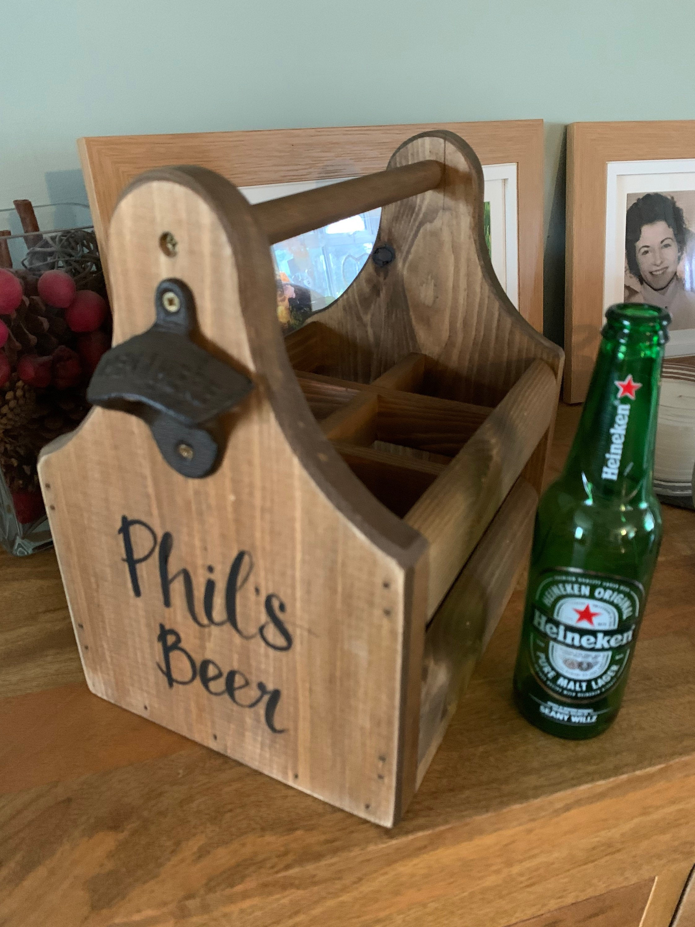 2 Wooden Six Pack Beer Caddies Personalized for Weddings and Gifts