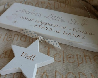 Nanny's Little Stars,  a handmade personalised shabby chic wooden plaque with hearts. Unique keepsake gifts, Nan,Grandma Grandparent gifts