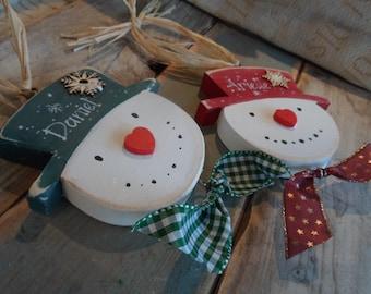Personalised handmade hanging snowmen decoration. Custom Christmas decorations Teacher Gift Mantel decor Stocking name tag  Christmas gifts