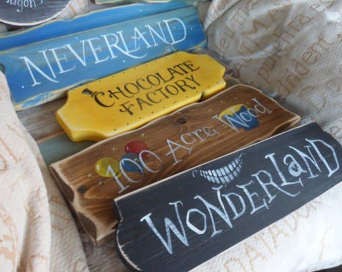 Featured listing image: Fairytale Storybook signpost sign School reading corner Baby Nursery decor Custom wedding decor Peter Pan The Shire Wonderland 100 Acre Wood